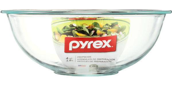 Pyrex® 6001043 Smart Essentials® Glass Mixing Bowl, Clear, 4 Qt