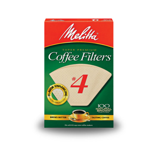 Melitta® 624602 Cone Coffee Filters, Paper Natural Brown, #4, 100 Count