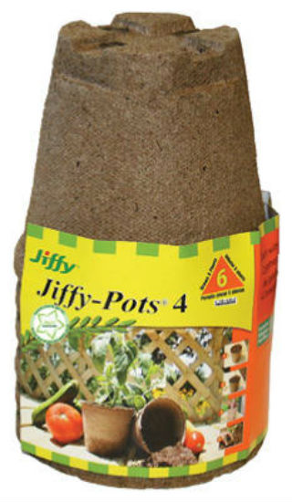 "Jiffy® JP406 Biodegradable Round Peat Pot, 4"", 6-Pack"