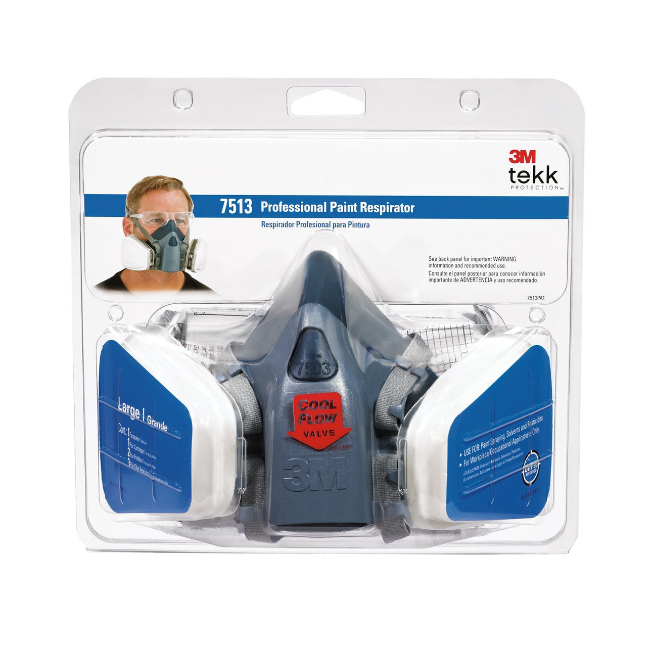 3M 7513PA1-A-PS Tekk Protection Professional Paint Spray Respirator, Large
