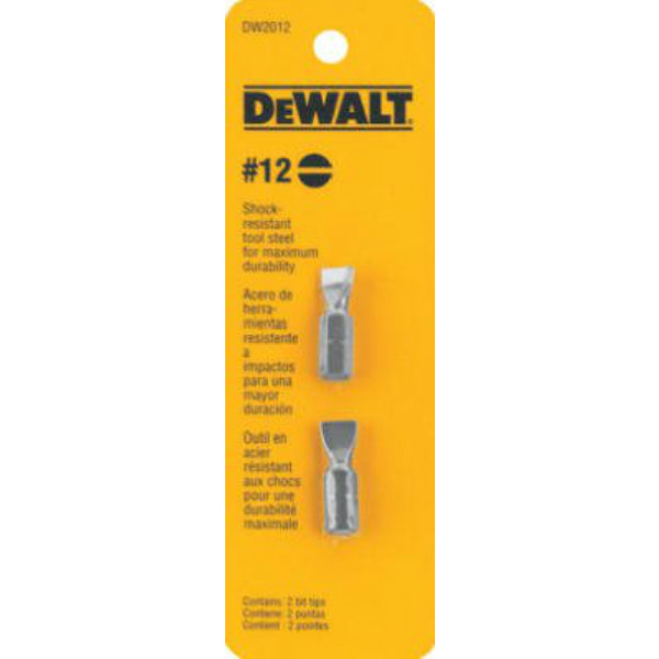DeWalt® DW2012 Slotted Screwdriver Insert Bit Tip, #12 Phillips, 2-Pack