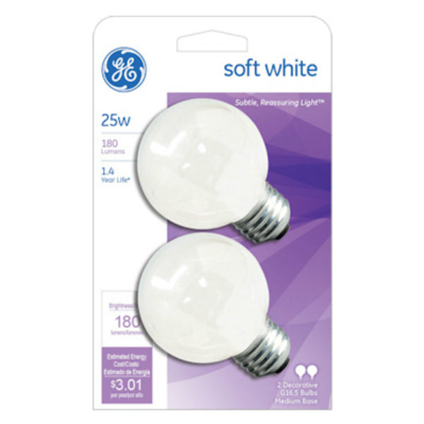 GE Lighting 31107 Incandescent G16.5 Globe Light Bulb, Soft White, 25W, 2-Pack