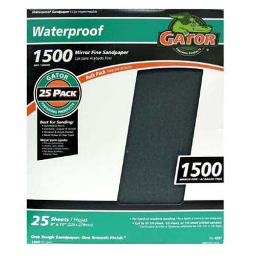 "Gator 4237 Waterproof Sanding Sheet, 1500 Grit, 9"" x 11"""