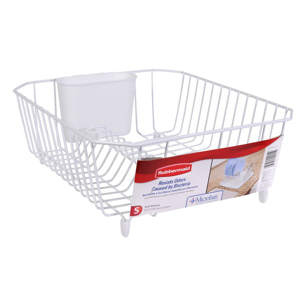 Rubbermaid® 6008-AR-WHT Microban® Coated Wire Dish Drainer, Small, White