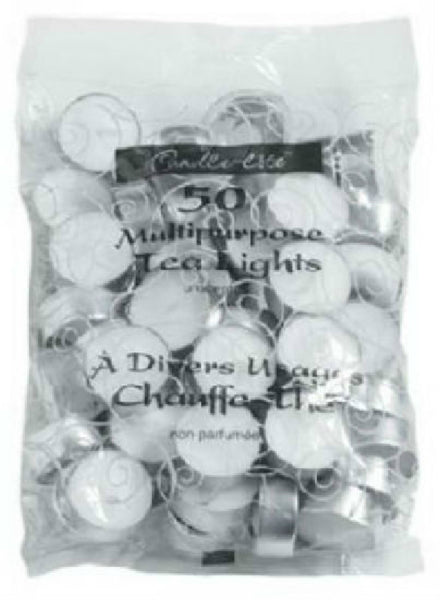 Candle Lite® 4231595 Unscented Tea Light Candle, 50-Pack