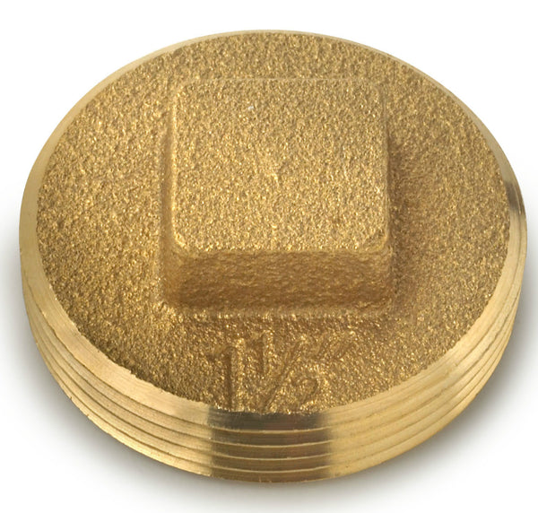Oatey® 42369 Brass Cleanout Plug With Raised Head, 1-1/2""