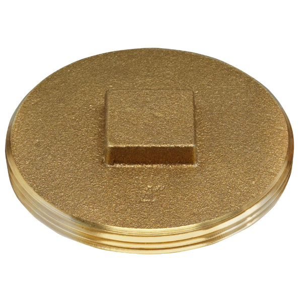 Oatey® 42374 Brass Cleanout Plug With Raised Head, 4""