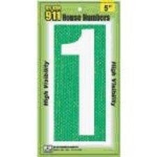 Hy-Ko 921 Reflective 911 High Visibility House Number 1 Sign, 5""