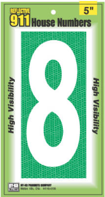 Hy-Ko 928 Reflective 911 High Visibility House Number 8 Sign, 5""