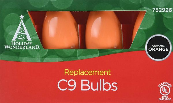 Holiday Wonderland® 1094O-88 Xmas C9 Ceramic Replacement Bulbs, Orange, 4-Pack