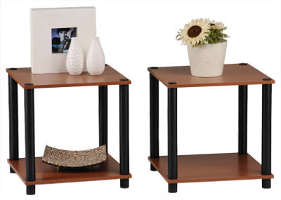 Momentum PBF-0293-303 Cherry Finish with Black Accents End Table Set, 2-Piece