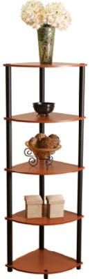 Momentum Furnishings Corner Shelf, 5-Tier, Cherry With Black Accents