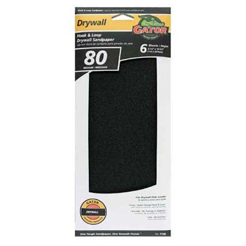 "Gator 7156 Drywall Hook & Loop Sandpaper, 80 Grit, 4.5"" x 10.5"""