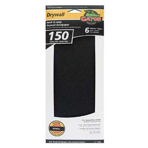 "Gator 7159 Drywall Hook & Loop Sandpaper, 150 Grit, 4.5"" x 10.25"""