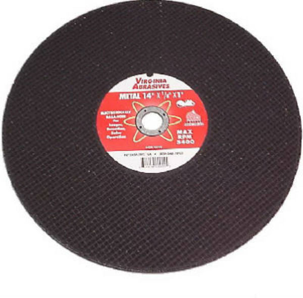 "Virginia Abrasives™ 424-15512 Metal & Steel Bonded Cutoff Wheel, 12"" x 1/8"" x 1"""