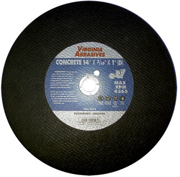 "Virginia Abrasives™ 424-20414 Bonded Masonry Cutoff Wheel, 14"" x 3/16"" x 1"""