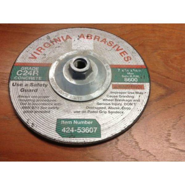 "Virginia Abrasives™ 424-53607 Depressed Center Grinding Wheel, 7"" x 1/4"" x 5/8""-11 Thread"