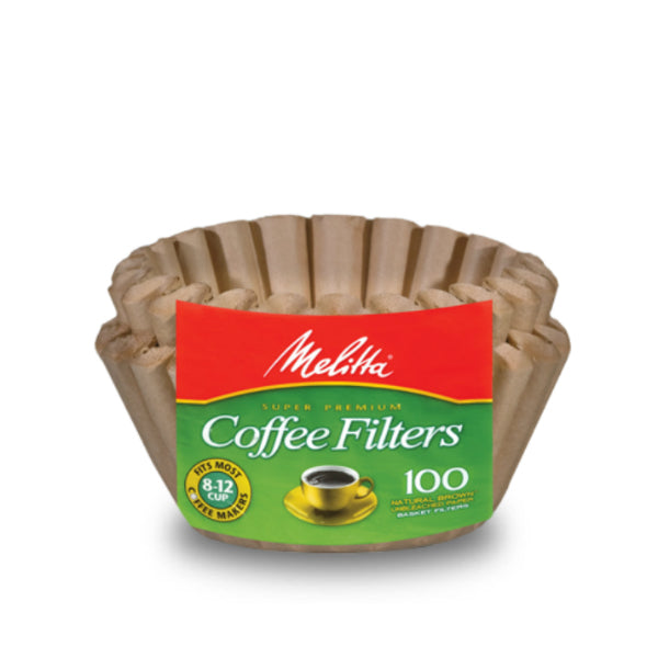 Melitta® 629092 Basket Coffee Filter, Paper Natural Brown, 8-12 Cup, 100-Count