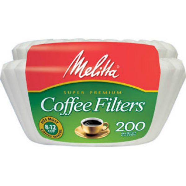 Melitta® 629524 Coffee Basket Filter 8 To 12 Cup, White, 200-Count