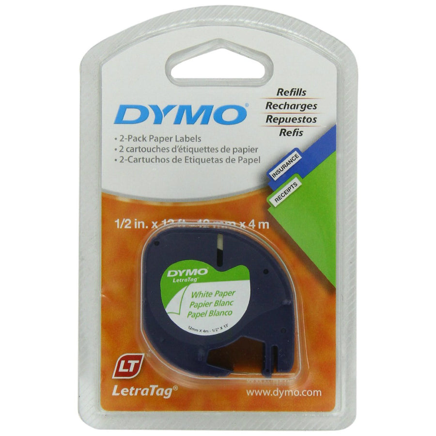 "DYMO® 10697 LetraTag® Pearl White Paper Labels, 1/2"" x 13', 2-Pack"