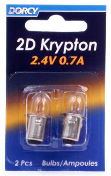 Dorcy® 41-1660 2D Krypton Bayonet Base Replacement Bulb, 2.4V, 0.7A, 2-Pack