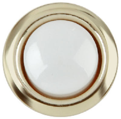 Carlon DH1202 Wired Round Push Button with Gold Rim Housing, White