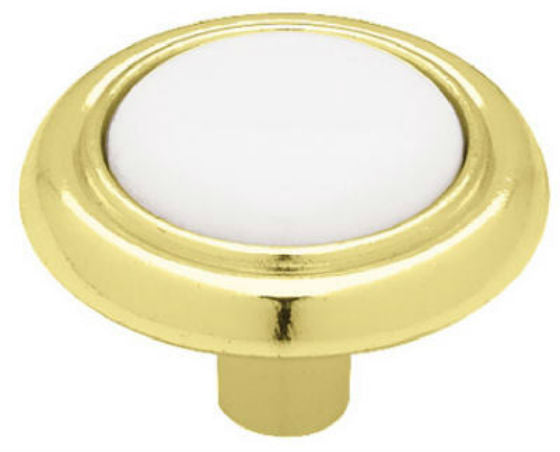 "Brainerd® 69115 Ceramic Round Knob, 1-1/4"", Polished Brass & White"