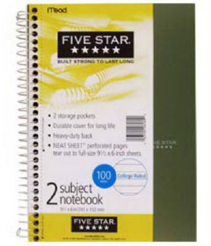 "Mead® 06180 Five Star® Wirebound College Ruled Notebook, 9.5"" x 6"", 100-Count"