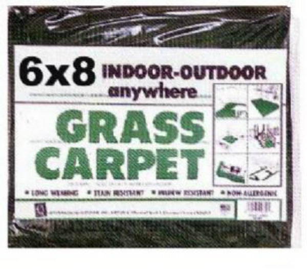 Jefferson Home Fashions GR68BG Marine Backing Grass Carpet, Green, 6' x 8'