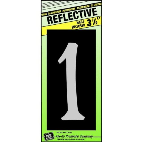 Hy-Ko CA-25/1 Reflective Aluminum House Number 1 Sign, 3-1/2""