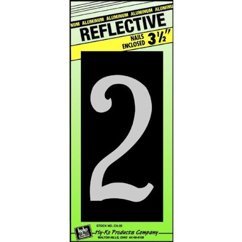 Hy-Ko CA-25/2 Reflective Aluminum House Number 2 Sign, 3-1/2""