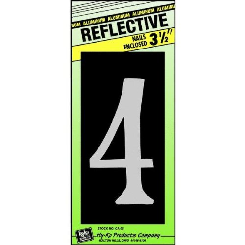 Hy-Ko CA-25/4 Reflective Aluminum House Number 4 Sign, 3-1/2""