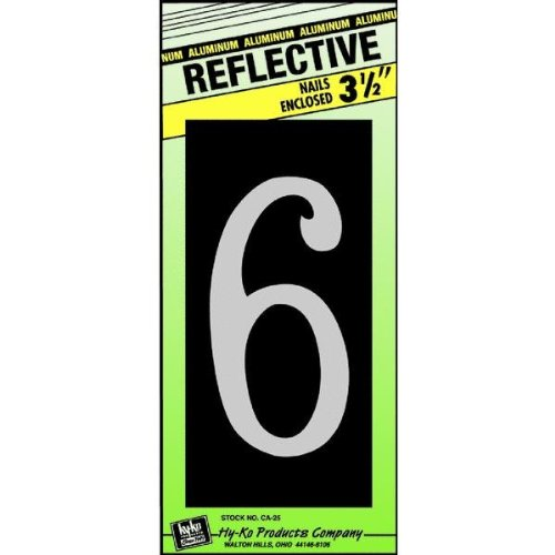 Hy-Ko CA-25/6 Reflective Aluminum House Number 6 Sign, 3-1/2""