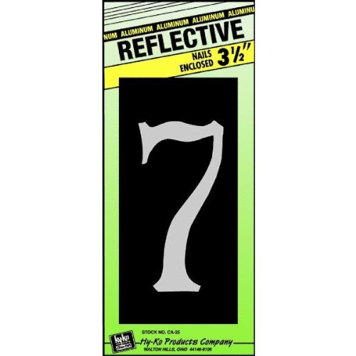 Hy-Ko CA-25/7 Reflective Aluminum House Number 7 Sign, 3-1/2""