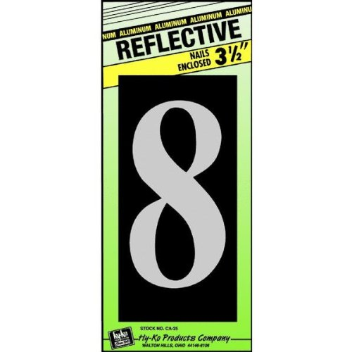 Hy-Ko CA-25/8 Reflective Aluminum House Number 8 Sign, 3-1/2""