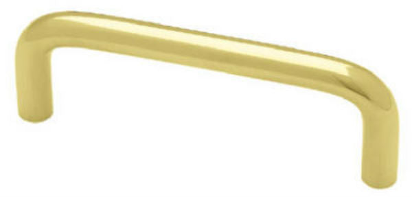 "Brainerd®  Solid Brass Wire Pull, 3"", Polished & Lacquered Finish"