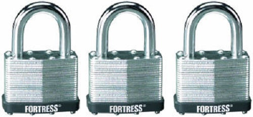 "Master Lock 1805TRI Laminated Padlock with Steel Shackle, 2"", 3-Pack"