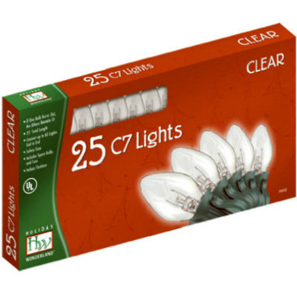 Holiday Wonderland 525C-88 Christmas C7 Transparent 25-Light Set, 25', Clear