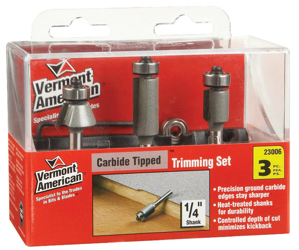 Vermont American® 23006 Carbide Tip Trimming Router Bit Set, 3-Piece