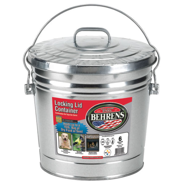 Behrens 6106 Galvanized Steel Locking Lid Can/Pail, 6 Gallon