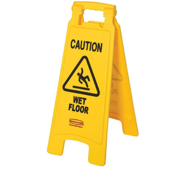 "Rubbermaid® 6112-77-YEL ""Caution Wet Floor"" 2-Sided Floor Sign, Yellow, 25"""