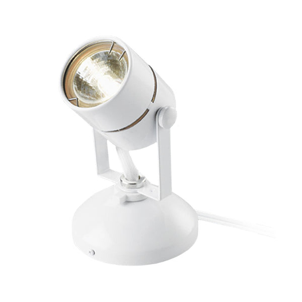 Good Earth G19920-WH-I Micro Halogen Spot Light w/ Bulb & 10' Cord, White, 10W