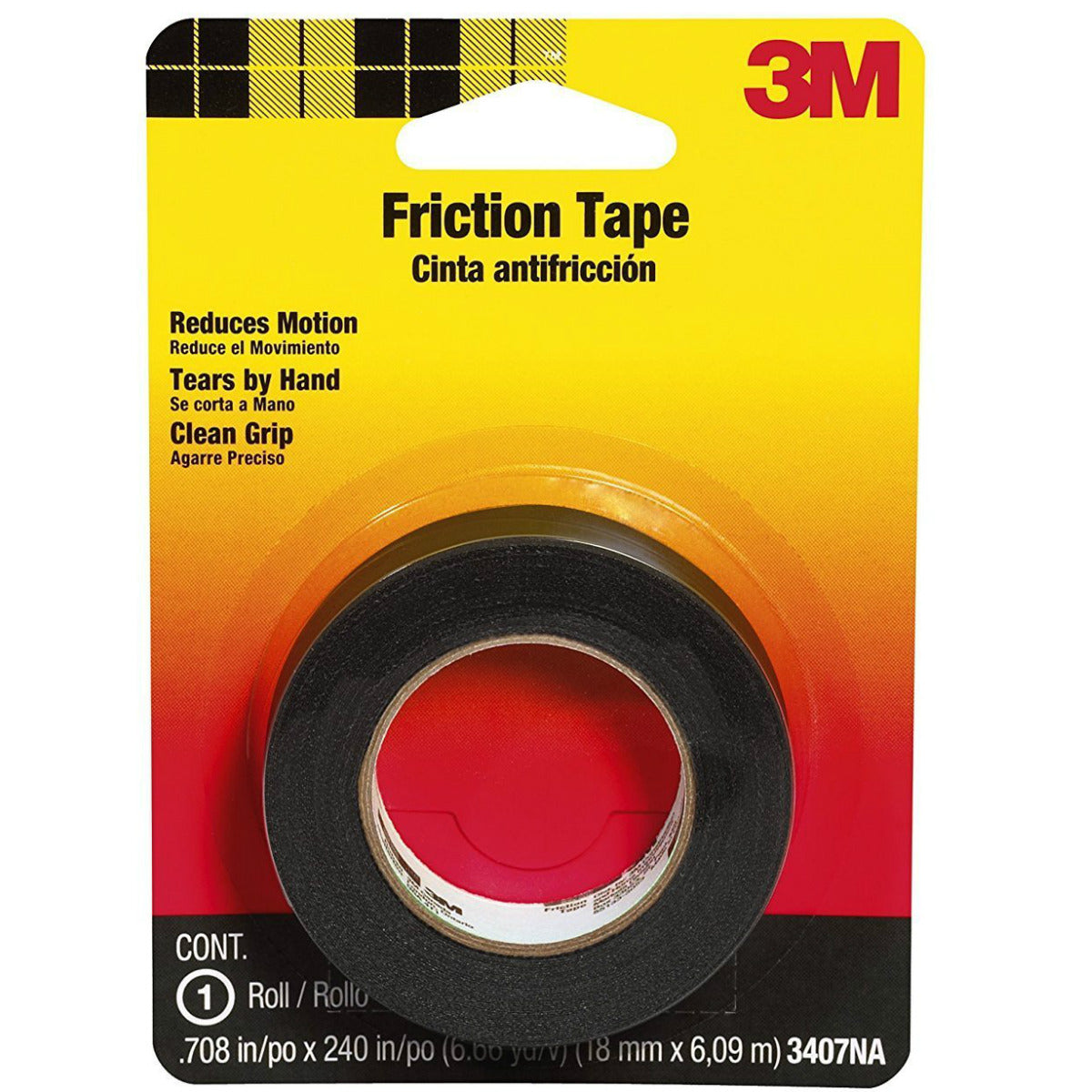 "Scotch 3407 Medium Grade Friction Tape, 0.75"" x 240"", Black"