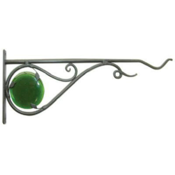 "Panacea™ 85041 Forged Stained Glass Hanging Plant Bracket, 15"", Black"