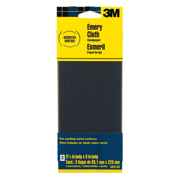 "3M 5931ES Emery Cloth Sandpaper, 3-2/3"" x 9"", Assorted Grit, 3-Pack"