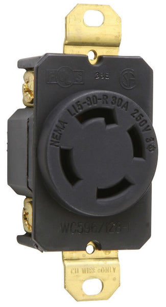 Pass & Seymour Locking Outlet, 30A, 125V, Black