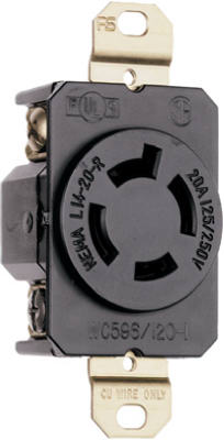 Pass & Seymour Turnlok Single Receptacle, 20A, 125/250V, Black