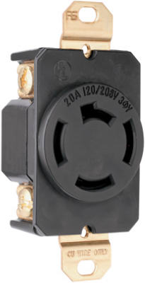 Pass & Seymour Single Receptacle, 20A, 125/208V, Black