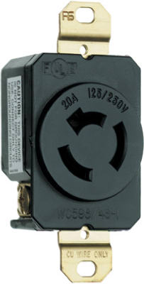 Pass & Seymour 7310 Turnlok Single Receptacle, 20A, 125/250V, Black