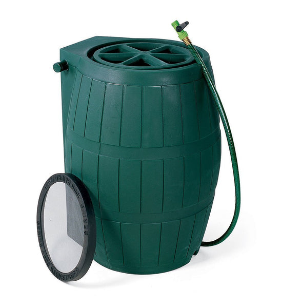 Achla® Designs RB-01 Plastic Rain Barrel with Screen, Green, 54-Gallon
